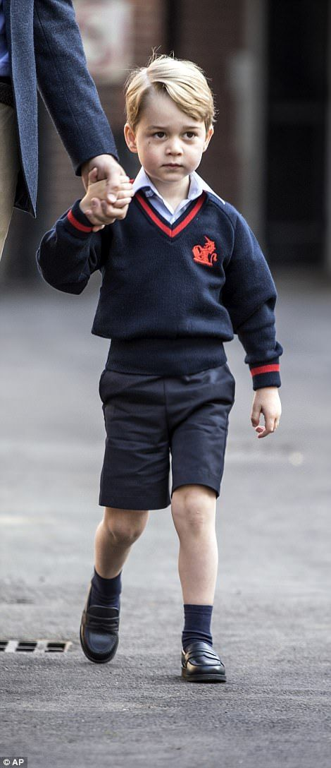 Prince George on his way to his first day of school