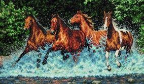 """Вышивка """"Бегущие лошади"""""""