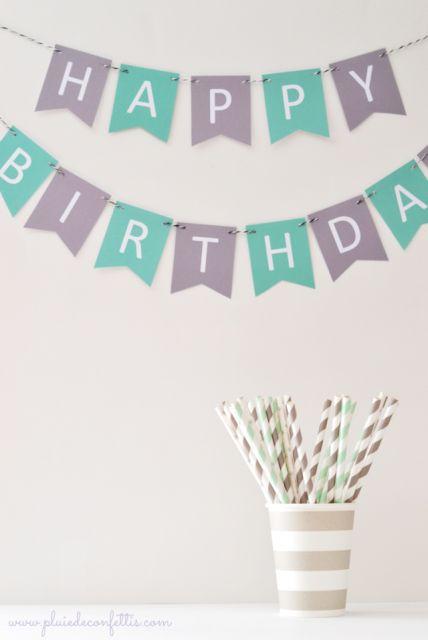Voici deux modèles de guirlandes Happy Birthday à imprimer pour préparer de jolis anniversaires!