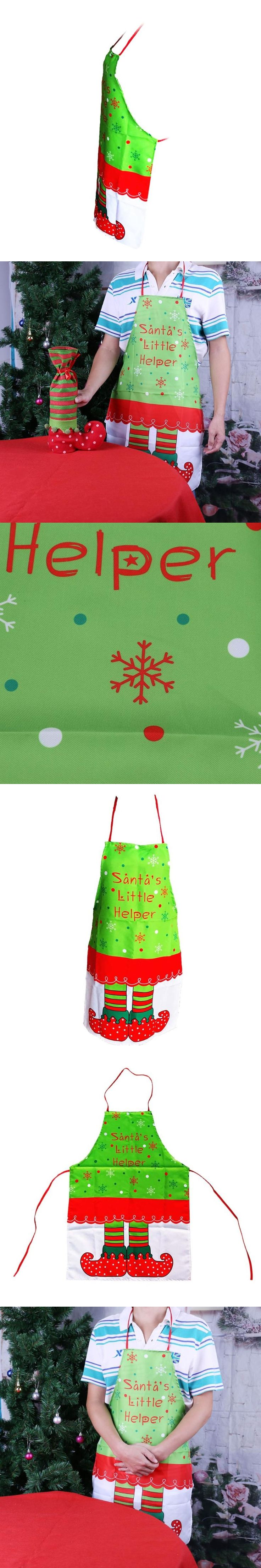 Happy Non-woven Lady Cute Christmas Aprons Xmas Cooking Dress Santa Claus Clothing Dining Aprons Dinner Christmas Decoration