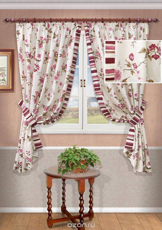 """Комплект штор Kauffort """"Лавино"""", на ленте, цвет: бордо, высота 175 см"""