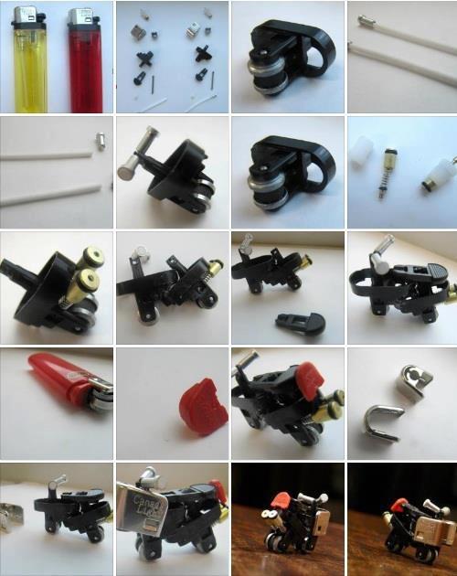 Mini motocicletas hechas con encendedores