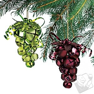 Grape Jingle Bell Ornaments~I think I will make some of these to go with the coasters I am going to make for my sis ♥