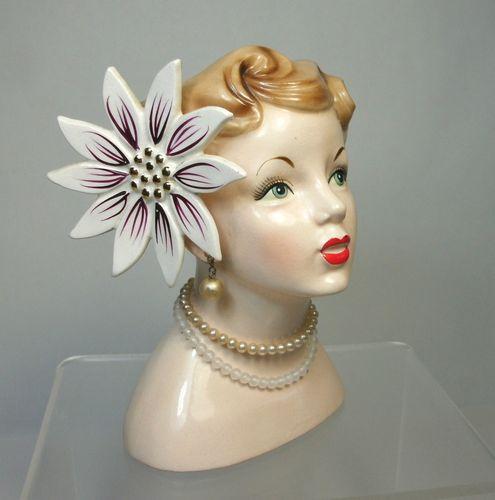Dl Vintage 1958 Napco Lady Head Vase C3141b Large Flower Made In