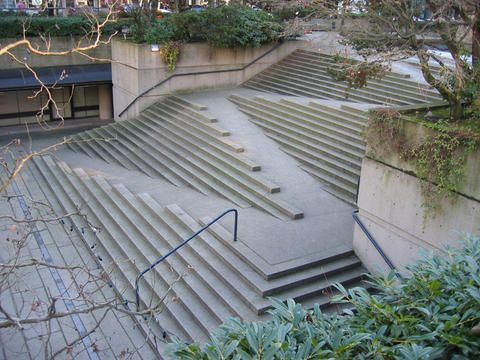 Stair/Ramp at Robson Square in Vancouver by Arthur Erickson