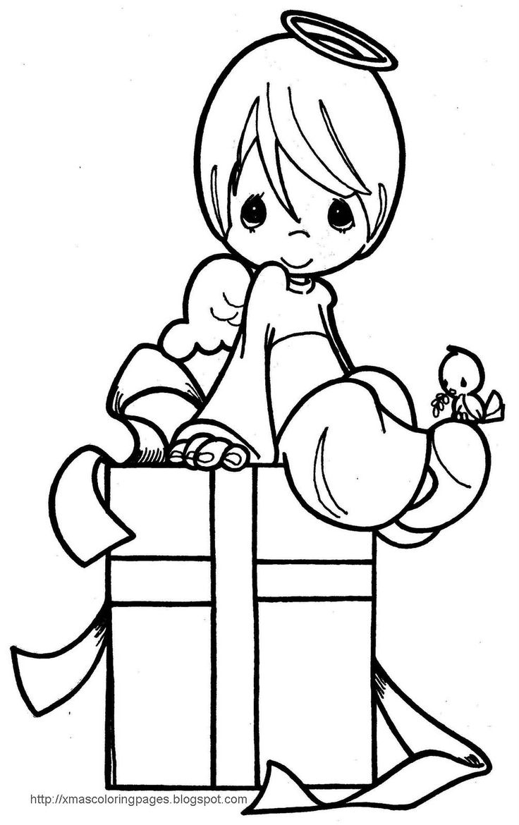 Xmas pages to color - Xmas Coloring Pages Angel Coloring Page