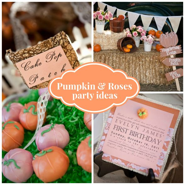 This adorable and creative Pumpkin and Roses First Birthday Party is stunning with lots of burlap, roses and lace - Pretty My Party