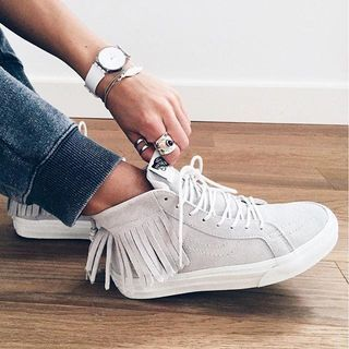 The Sk8-Hi Moc combines the legendary Vans lace-up high top with a stylish moccasin-inspired fringe. It also features suede uppers, signature waffle rubber outsoles, and padded collars for support and flexibility. - womens narrow shoes, womens shoes large sizes, womens running shoes