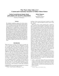 Why won't aliens talk to us? Content and community dynamics in online citizen science - ePrints Soton