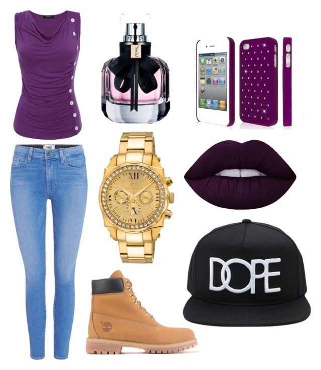 """""""Untitled #23"""" by ashantismith51068 on Polyvore featuring beauty, Paige Denim, Timberland, 21 Men, Porsamo Bleu, Lime Crime and Yves Saint Laurent"""