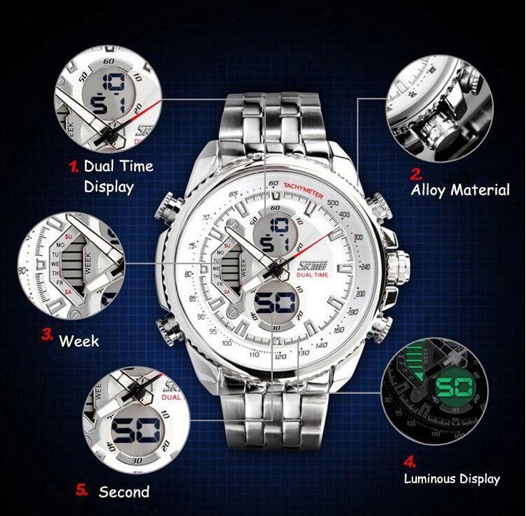 SKMEI 0993 Homens Esporte Relógios de Aço Cheio De Moda Casual Relógio de Pulso Led Militar Digital Analógico Quartz WatchRelogio Masculino em Relógios desportivos de Relógios no AliExpress.com   Alibaba Group