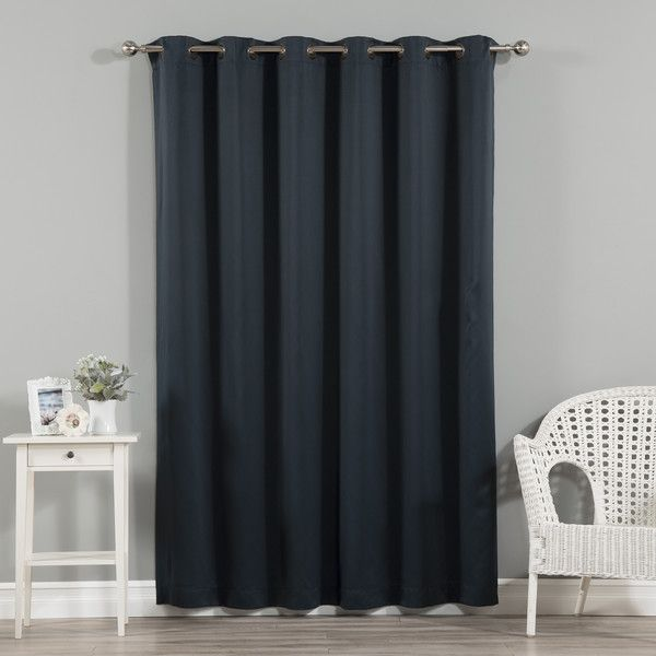 Jasper Solid Extra Wide Thermal Blackout Grommet Single Curtain Panel - Navy