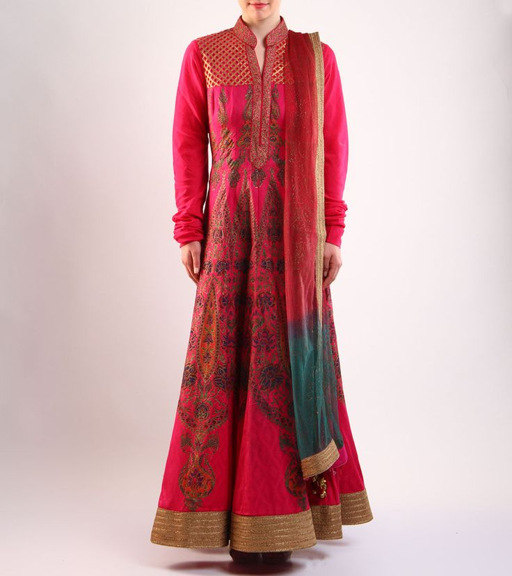 #Fuchsia Embroidered Cotton And #Net #Anarkali #Suit