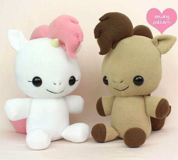 "Plushie Sewing Pattern PDF - Baby Pony Horse cute soft plush toy - cuddly stuffed animal 18"" MLP Unicorn Pegasus"