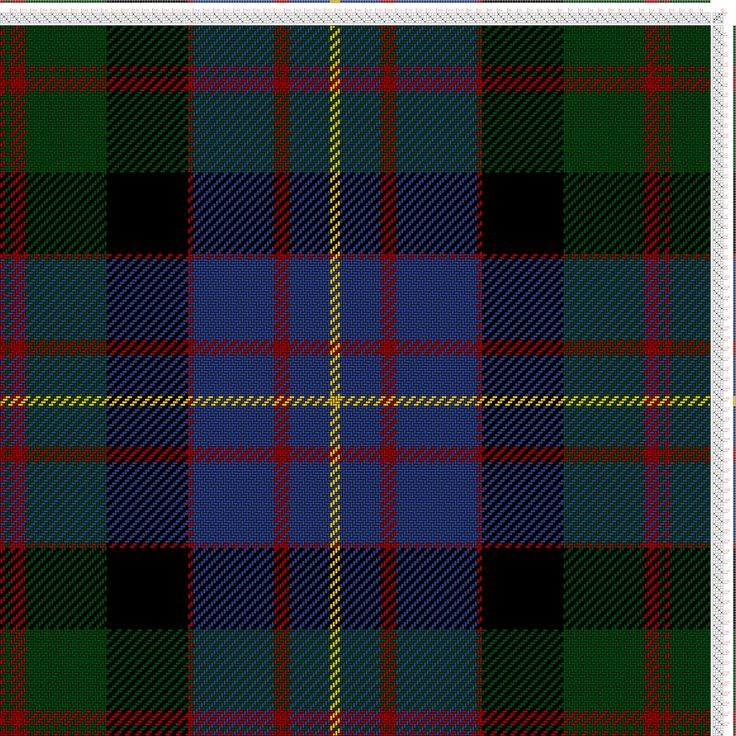 Weaving Draft Cameron of Erracht (G16, R2, G2, R6, G32, BK32, R2, B32, R6, B16, Y4), Scottish and Other Tartans Collection, Scotland, Varying Dates, 1800-2005?, #13612