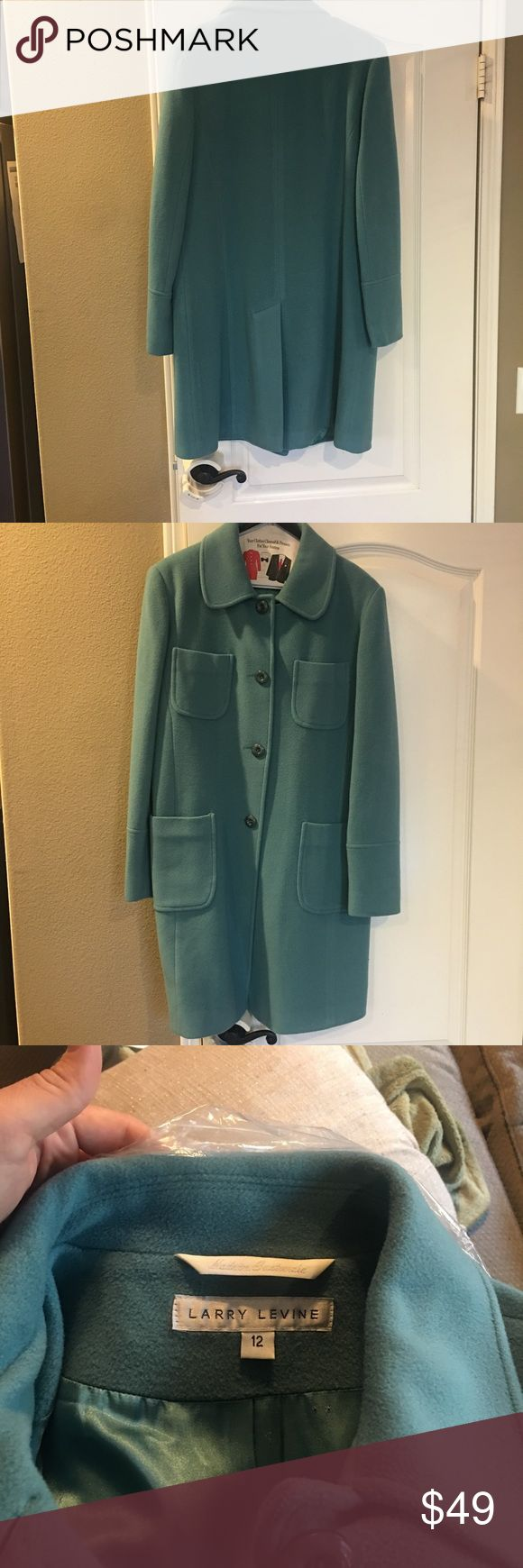 Wool knee length coat 100% merino wool teal blue knee length coat. Beautiful condition. Only worn a few times. Very warm. Women's size 12 Larry Levine Jackets & Coats Pea Coats