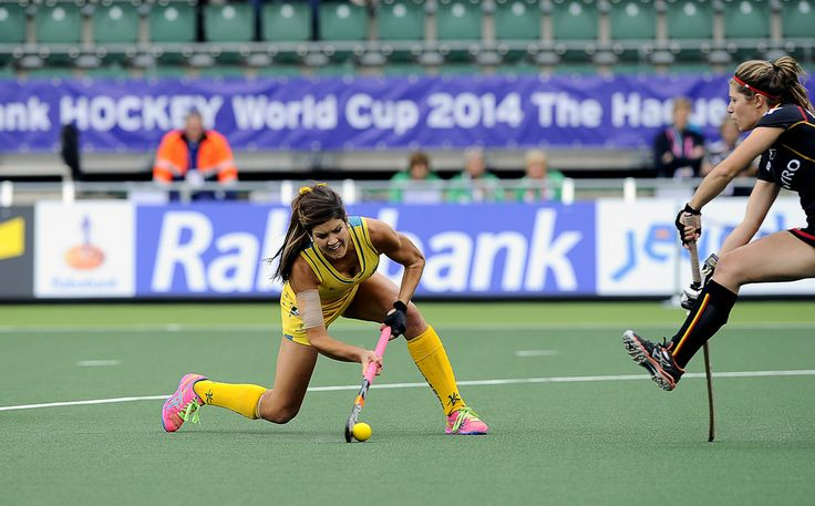 https://flic.kr/p/nSawsT | FIH-Hockey World Cup-Women-Belgium-AUstralia-20140605-0444 | The Hague, Netherlands, June 05: Australia Anna Flanagan #9 drags the ball after a penalty corner and scores the leading goal (0:1) during the first half during the field hockey group match (Men - Group A) between Belgium and Australiaon June 5, 2014 during the World Cup 2014 at Kyocera Stadium in The Hague, Netherlands. Final score 2:3 (1:1) (Photo by Dirk Markgraf / www.265-images.com) *** Local…