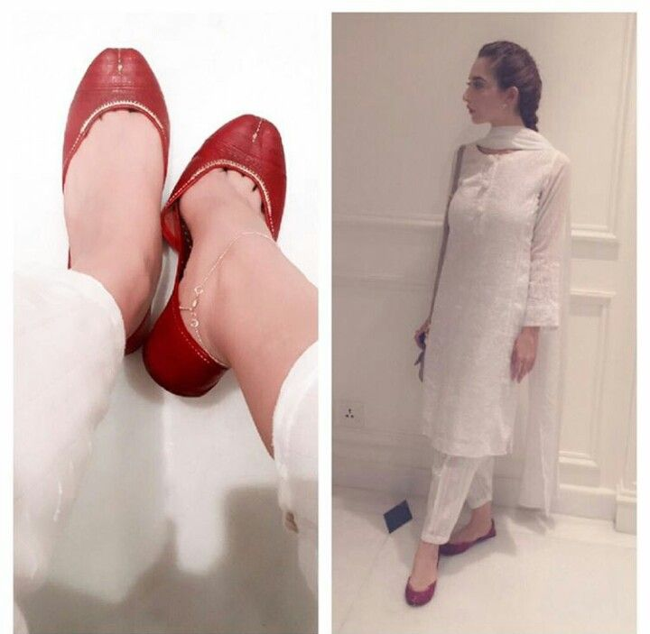 Pakistani all white shalwar kameez & tan khussay on model Fatima Kasuri.