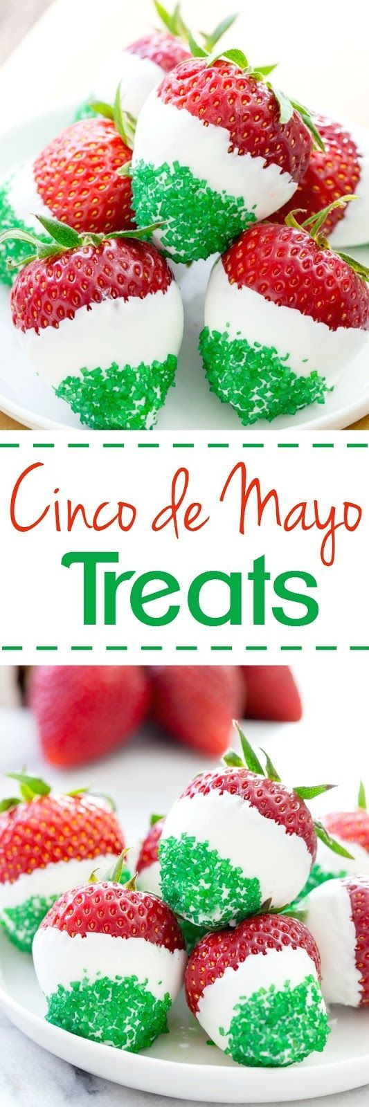 These juicy strawberries are all decked out for Cinco de Mayo.  They are dipped in white chocolate and jazzed up with green sprinkles! (Mexican Desert Recipes Deserts)
