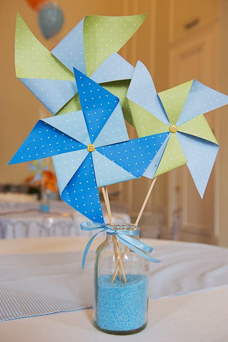 Festa Pipas e Cataventos nas cores laranja e azul bebê para o primeiro aninho do fofíssimo Heitor! ...