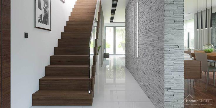 Projekt domu HomeKONCEPT-01- projekty domów z wnętrzami: styl translation missing: pl.style.korytarz-przedpokój-i-schody.nowoczesny, w kategorii Korytarz, przedpokój i schody zaprojektowany przez HomeKONCEPT   Projekty Domów Nowoczesnych