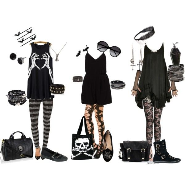 simple summer goth by theteadrinkingvampire on Polyvore featuring STELLA McCARTNEY, Philipp Plein, ANGELINA, Charlotte Olympia, Converse, Poverty Flats, Tripp, King Baby Studio, Valentino and Monday
