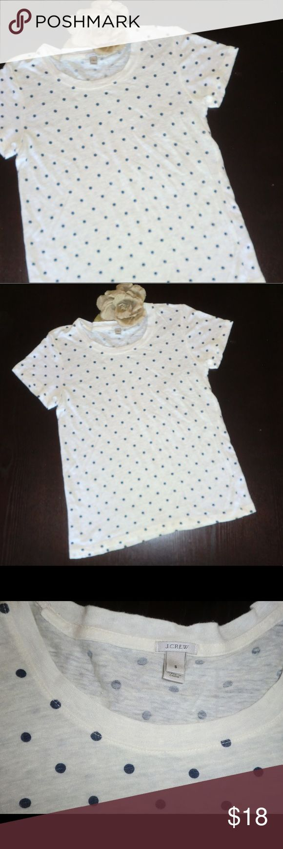 J. Crew Polka Dot Tee Like New S Soft Navy White Nothing like stepping out in a tshirt that feels like you could fall asleep in it! This soft linen tee is a must have for spring and summer. White with navy blue polka dots. Size small. J. Crew Tops Tees - Short Sleeve