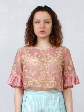 Pink Embroidered Silk Organza Top
