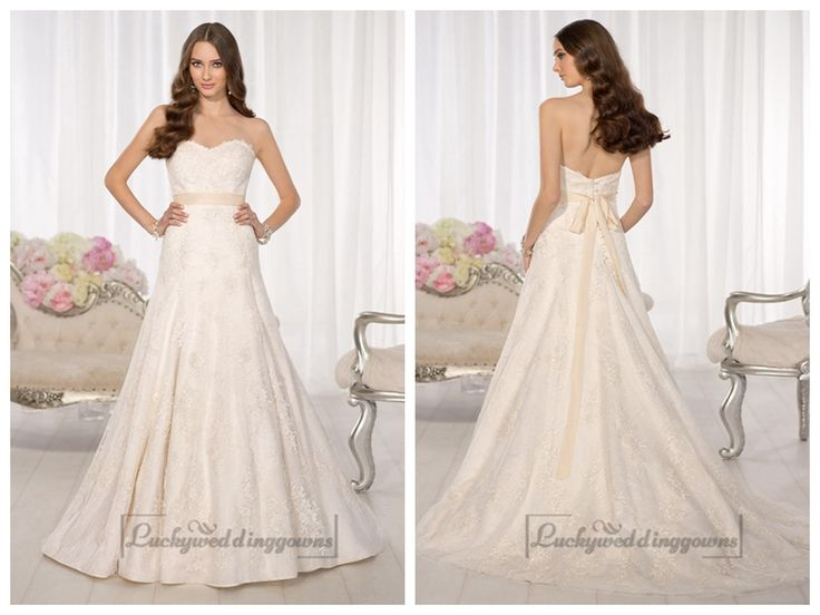 Strapless Sweetheart A-line Simple Lace Wedding Dresses http://www.ckdress.com/strapless-sweetheart-aline-simple-lace-wedding-  dresses-p-2001.html  #wedding #dresses #dress #Luckyweddinggown #Luckywedding #wed #clothing   #gown #weddingdresses #dressesonline #dressonline #bridaldresses