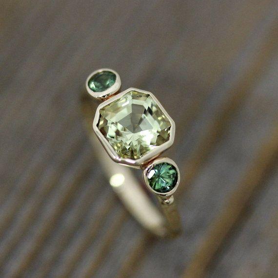 Asscher Cut Beryl and Green Tourmaline Ring in 14k Yellow Gold, Three Stone Ring