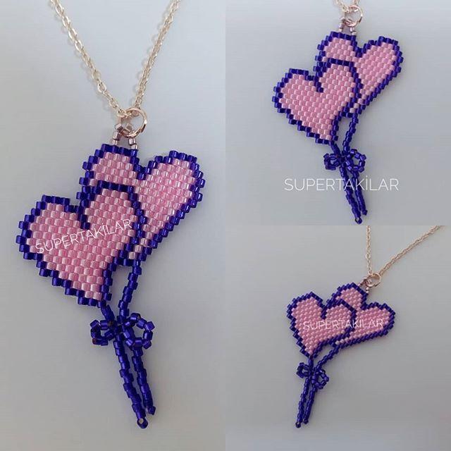 Sevgililer Günü Konsepti - Kalp Balonlar Designed by @supertakilar Kendi tasarımım... #miyuki #handmade #supertakilar