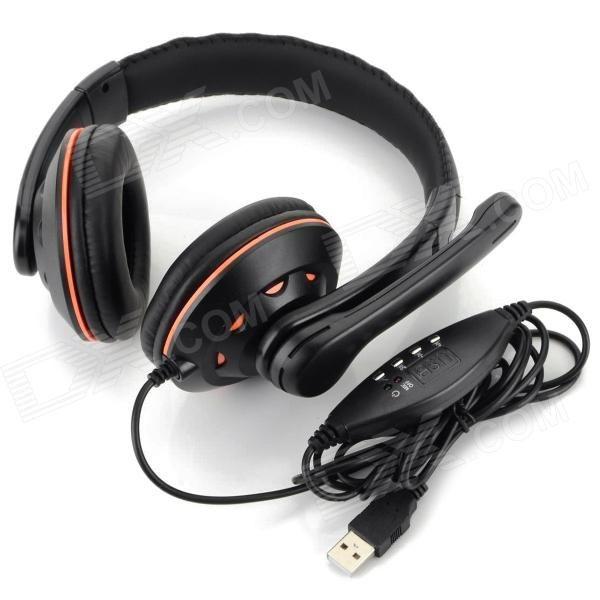 OVLENG Q5 Super Bass casque filaire USB 2.0 w / carte son / microphone - Noir + Orange (210cm)