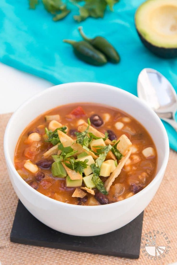This Vegan Tortilla Soup recipe is healthy, filling, and family-friendly! No fancy ingredients. It's simple, delicious, and the best tortilla soup recipe!