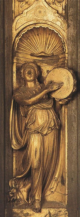 GHIBERTI, Lorenzo  Sibyl (detail from the east door)  1425-52  Gilded bronze  Baptistry, Florence