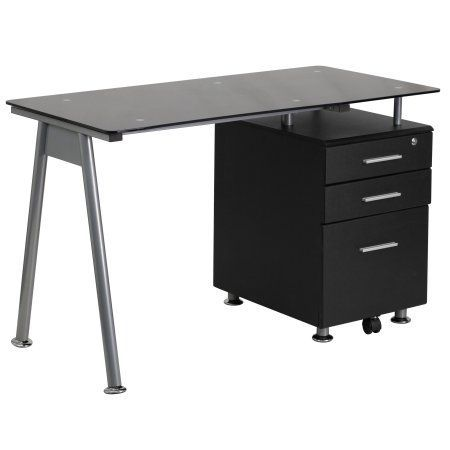 Flash Furniture Black Glass Computer Desk with 3-Drawer Pedestal