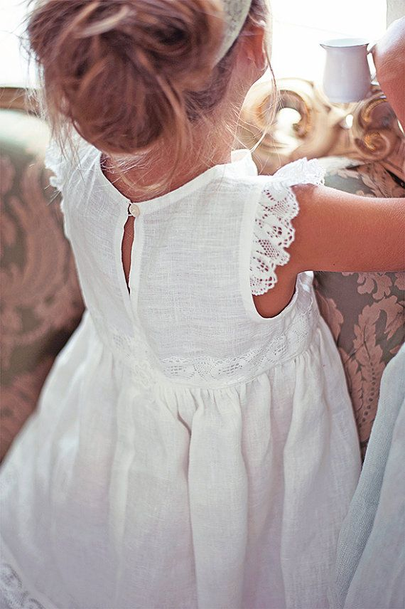 White Flower girl dress Vintage style linen by SnowflakeLinen1