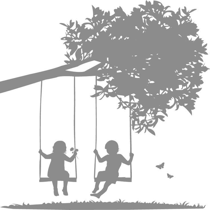 Kids Wall Decals-Kids on Swings- WALLTAT.com Art Without Boundaries