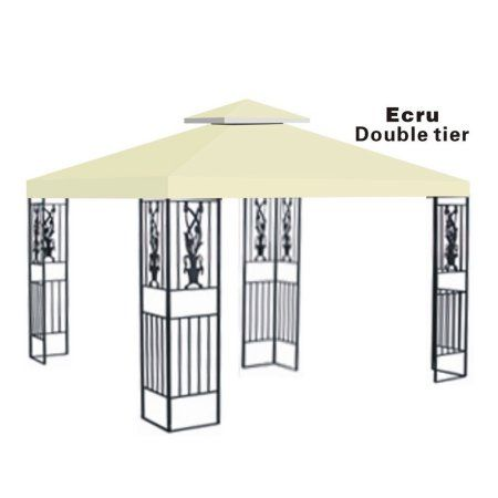 10x10 Replacement Canopy Top Patio Pavilion Gazebo Sunshade Polyester Cover Double Tier Gazebo Gazebo Replacement Canopy Replacement Canopy