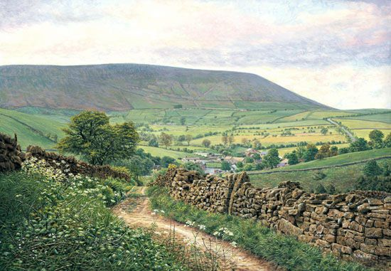 Heys Lane, Summer - Pendle Hill, Lancashire. Keith Melling I have this on my wall, Keith, in Essex. Purchased in a Clitheroe gallery to remind me lovely Pendle Hill. Beautiful