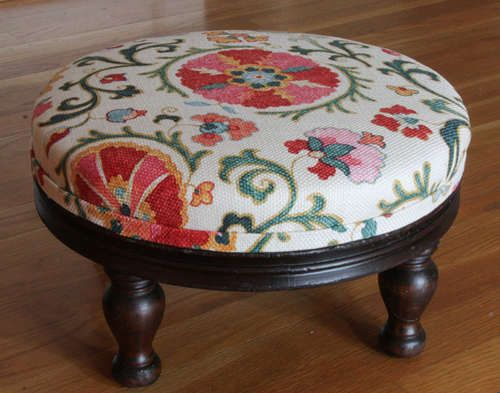 How to reupholster a very old footstool. Great clear photos with each step-by-step instruction!