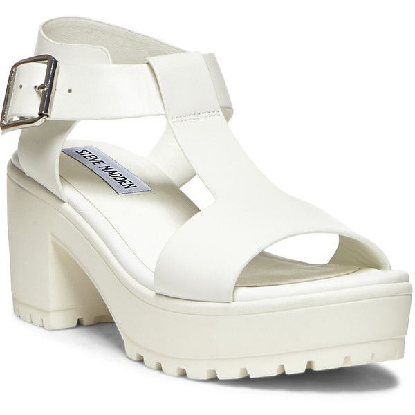 Steve Madden Women's Stefano Platform Wedges (1.285 RUB) ❤ liked on Polyvore featuring shoes, sandals, white leather, platform wedge sandals, leather platform sandals, ankle strap wedge sandals, white sandals and steve madden sandals