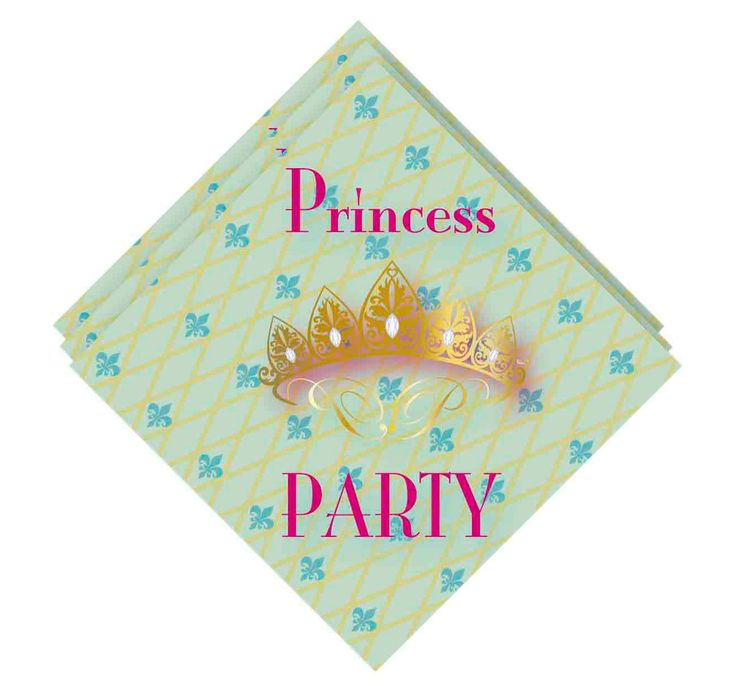 Set van 20 3-laags Princess servetten. Afmeting: 33 x 33 cm - Servetten Princess Party, 20st.
