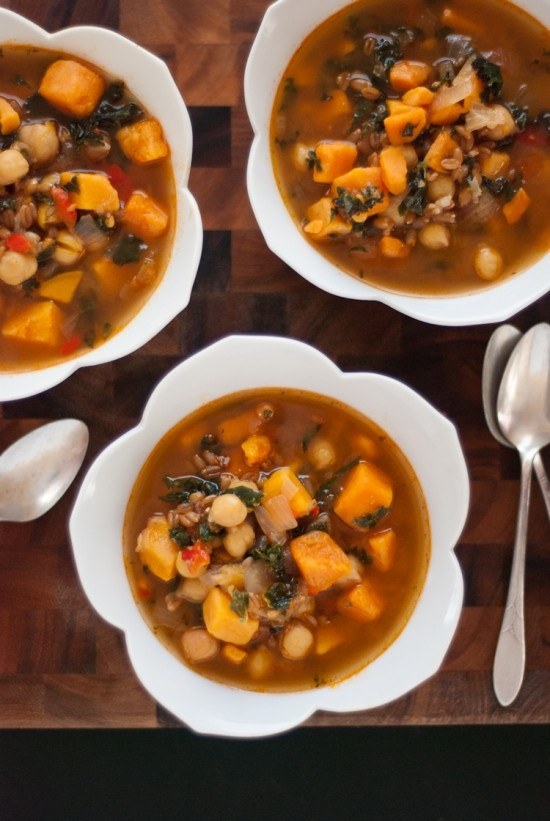 Sweet potato, kale, and chickpea soup with farro... This uses too many things I have on hand for me not to try it!