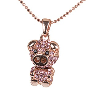 """Pink Pig Pendant - The cutest little piggy that you ever did see! Crafted with pink glass stones and a rose-gold coloured finish, she's got a cute button snout and movable body. Delicate 15"""" faceted ball chain with 3"""" extender and lobster clasp. Includes gift pouch. $12.98 CAD"""