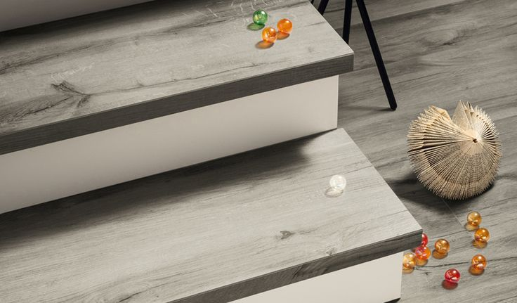 Landscape 'Ash' wood-effect Porcelain floor and wall tiles. Natural finish. Available in 180cm or 120cm length, 26.5cm, 20cm or 16cm width, or mixed widths in one length. #innovative #interiordesign #woodeffect #grey #porcelain #tiles