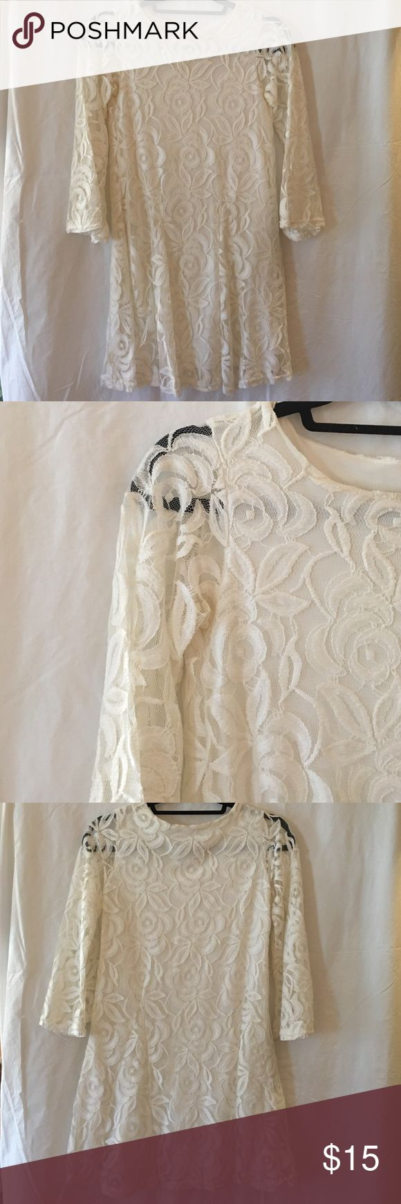 ASOS White Lace Mini Dress with 3/4 Bell Sleeves White lace mini dress from ASOS featuring 3/4 length bell sleeves. Lined. UK size 8, fits US 4. Only worn once. Perfect for sorority initiation. ASOS Dresses Mini