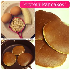 Simple Protein Pancakes: 1 Scoop Whey (flavor of choice, I used Vanilla) 2 Egg Whites 1/4 Cup Oats 1/2 Large Banana 1 TB Milk 1/8 teaspoon of Baking Powder 1/2 teaspoon of Cinnamon (optional) Directions: Put all ingredients into blender or magic bullet and blend until smooth. Allow the batter to set for about 5 minutes.