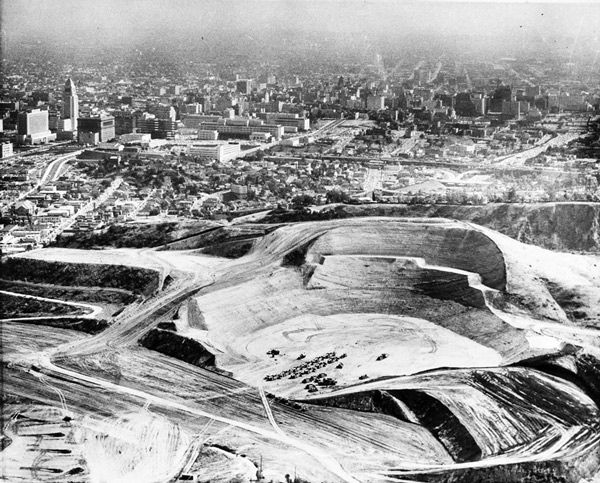 To build Dodger Stadium, construction crews reshaped the hills around Chavez Ravine, as seen in this photo taken on May 25, 1960. Courtesy of the Los Angeles Examiner Collection, USC Libraries.
