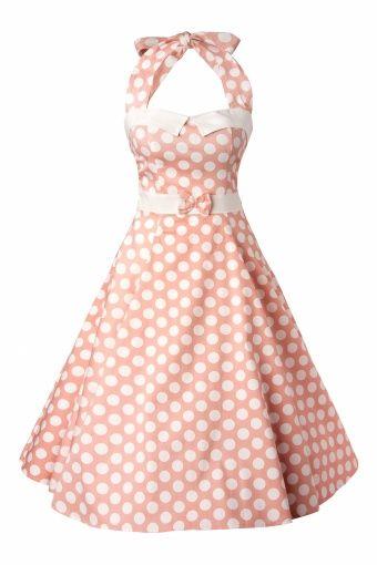 Collectif Clothing - 50s Stella Sweetheart Doll Blush pink Polka Dot swing dress