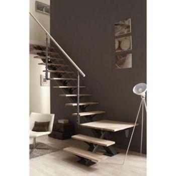 Escalier quart tournant Mona, marches/structure aluminium gris | Leroy Merlin